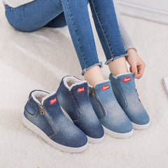 Winter Shoes Women Denim Ankle Boots Classic Zipper Snow Boots Warm Plush Thickening Flat Boots
