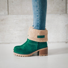 Boots Winter Shoes Fur Warm Snow Boots Square High Heels Boots Black Green
