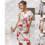 Sweet Vintage Elegant Women Pink Blue Print Flowers Vestidos Casual Bodycon Party Dress