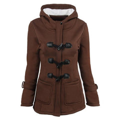 Warm Thicken Trench Horn Buckle Women Winter Pockets Autumn Solid Color Loose Long Coat