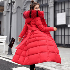 Winter Fur Collar Parka Zippers Solid Full Sleeve Warm Adjustable Waist Outwear Coats
