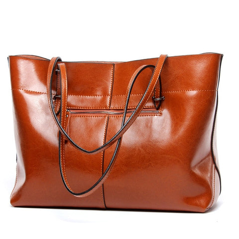 13db2c022890 Women Hand Bags Luxury Genuine Leather Shoulder Bag Versatile Solid Large  Capacity Casual Handbags