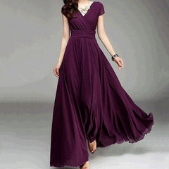 Women Sexy Deep V Female Velvet Solid Color Elegant Maxi Party Dress