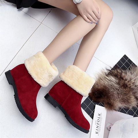 Soft Flat Mid Shoes Woman Leather Lace-Up Boots