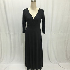 Long Maxi Party Plus Size Black Blue Sleeve Autumn Winter Tunic Office Dress