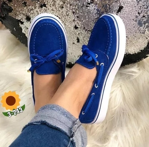 Casual Plus Size Women Sneakers Suede Bow Tie Slip On Shallow Comfort Vulcanized Shoes Flats Footwear