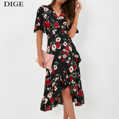 Summer Ruffle Short Sleeve Chiffon Bohemian Floral Print V Neck Long Dress Vestidos