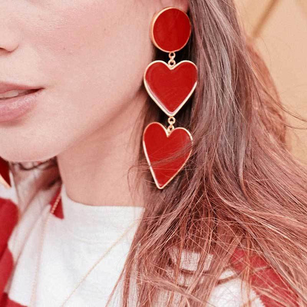 Bohemian Enamel Circle Love Heart Long Dangle Earrings Exaggerated Big Red Statement Earrings