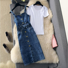Spring Summer Simple White T-shirt + Strap Single Breasted Denim Dress Two-piece Dresses