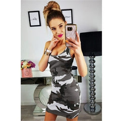 Summer Tank Dress Slim Casual Camouflage Military O-Neck Print Splice Empire Mini Dresses