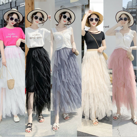 Irregular Tulle Layered Swing High Waist Casual Polyester Skirt