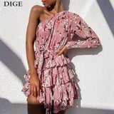 Summer Dress Long Sleeve One Shoulder Floral Print Chiffon Party Dress Ruffles Mini Robe