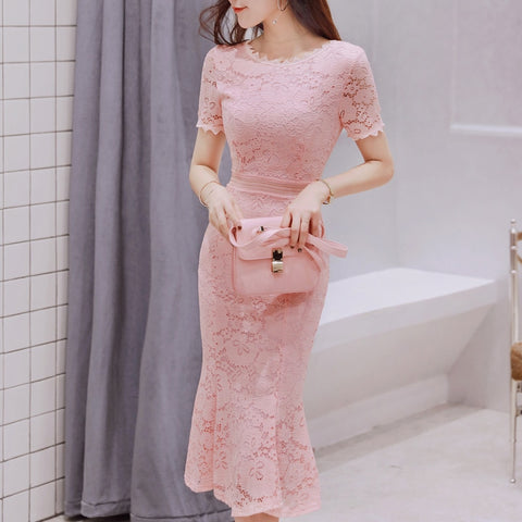 Summer Lace Pink Dress Women O-neck Party Mid-Calf Mermaid Short Sleeve Black Dresses