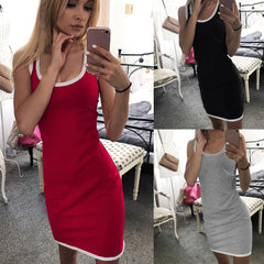 Summer Sport Dress Sleeveless O-Neck Casual Splice Black Red Dress Slim Package Hip Mini Dress