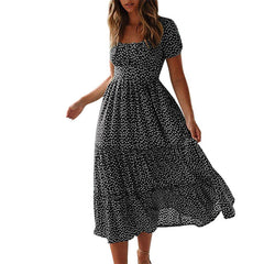 Summer Casual Bohemian Dress Short Sleeve Square Neck Wrap Boho Dress Plus Size