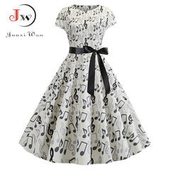 Summer Music Note Print Dress Robe Retro Swing Casual Vintage Sleeveless Party Dresses