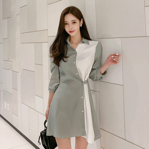 Autumn Winter Korean Temperament Lapel Seven-point Sleeve Stitching Contrast Button Waist Dress