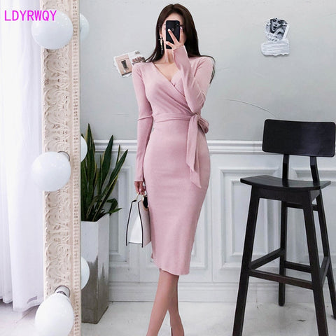 Autumn Winter Women Korean Temperament V-neck Tie Waist Long Section Slim Bag Hip Bottom Dress