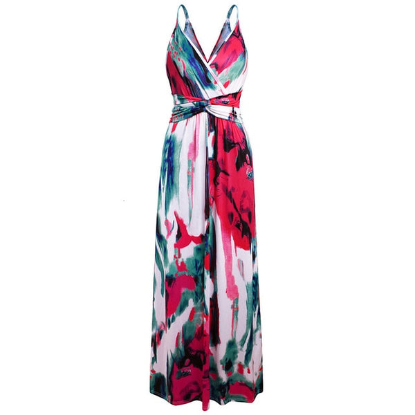 Multicolor Jungle Leaf Boho Long Dress Sling Cross V Neck Party Maxi Summer Dresses