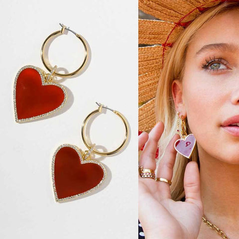 Crystal Filled Enamel Red Heart Charm Gold Hoop Earrings Chic Bohemian Heart Hoop Earring