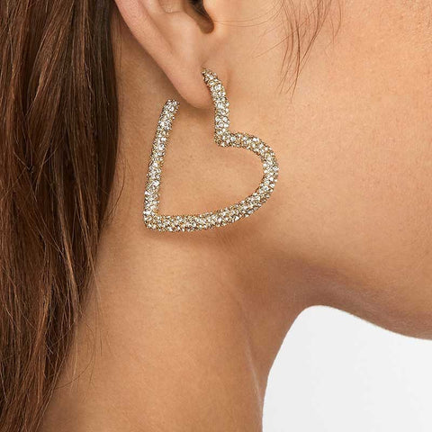 Gold Color Women Cubic Zirconia Heart Shape Hoop Earrings Party Statement Jewelry