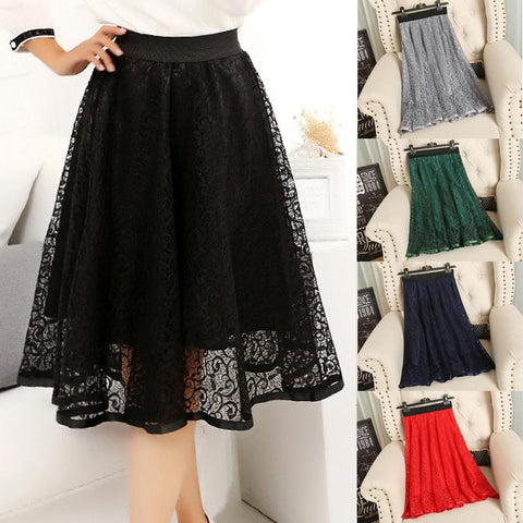 Spring Summer Waist Gauze Lace Skirt Thin A-line Long Skirt