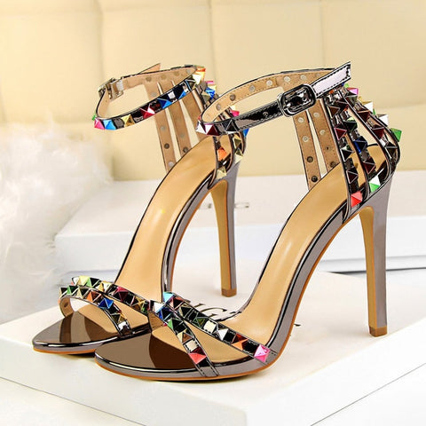 Women High Heels Rivets Studded Sandals Stiletto Gladiator Pumps Stripper Summer Fetish Shoes
