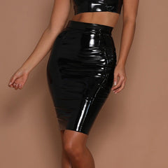 Women Mini Bodycon Latex Skirt High Waist Pencil PU Patent Leather Black Office Short Skirts