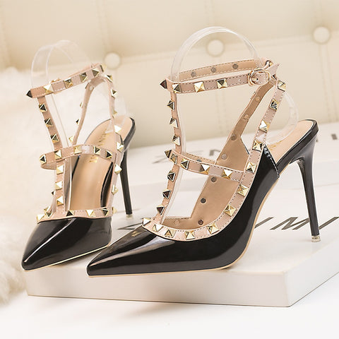 Pumps Shoes Pointed Toe Rivet Women Shoes Thin Heels Hollow Super High Heels Shoes