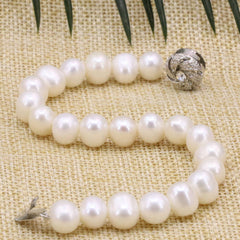 Natural White Black Freshwater Cultured Pearl Beads Bangle Bracelet Women Vintage Elegant Jewelry