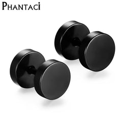 Stainless Steel Earrings Double Sided Round Bolt Stud Men Women Punk Gothic Barbell Black Earrings