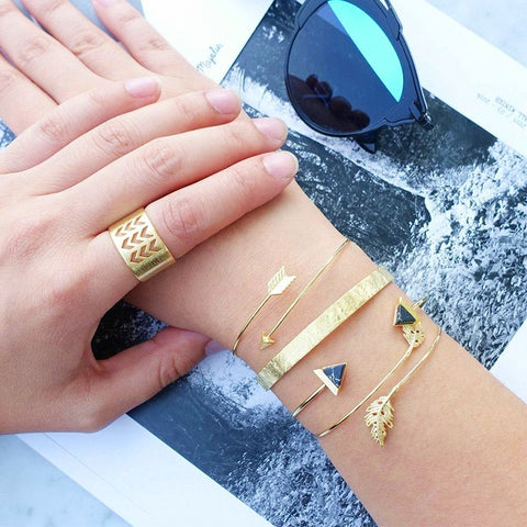 Trend Stone Leaf Arrow Women Bracelet Ring Set Vintage Bracelet Party Charm Jewelry