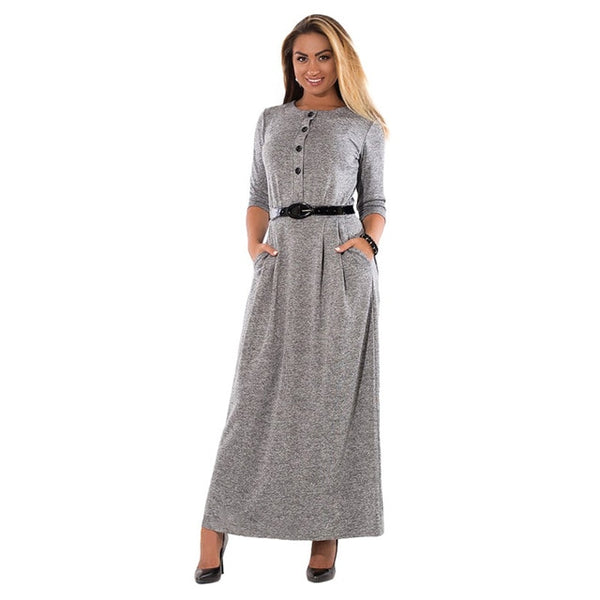 Autumn Winter Big Size Elegant Long Sleeve Maxi  Women Dress Office Work Dresses