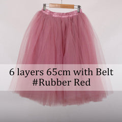 Layer Midi Skirt Tutu Tulle Women Full Skirts Vintage American Apparel Petticoat
