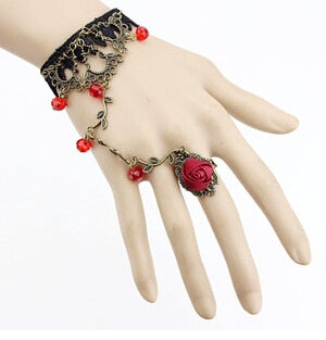Vintage Luxury Brand Texture Temperament Lace Bracelet Slave Chain Link Ring Jewelry