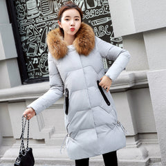 Fashion white Duck Down Hooded Coat medium and Long-length jacket