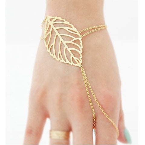 Women Hollow Leaves Bracelet Bangles Finger Ring Slave Chain Hand Harness