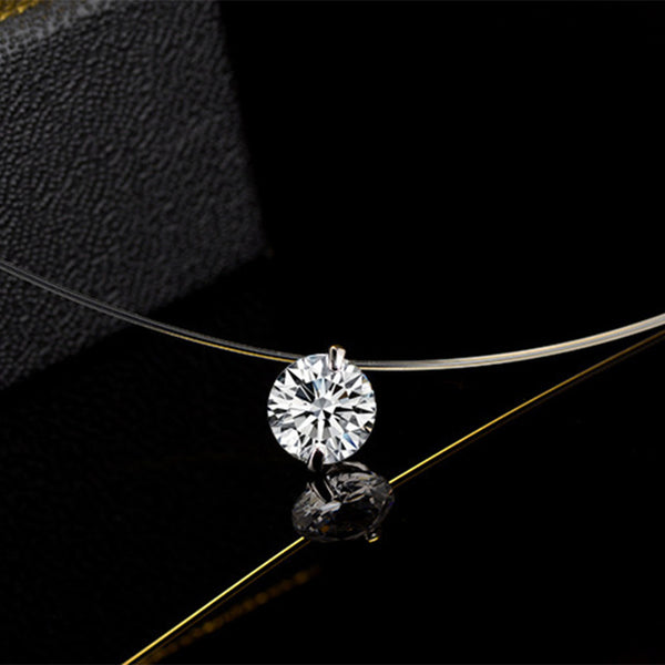 925 Dazzling Zircon Necklace Invisible Transparent Fishing Line Simple Pendant Sterling Silver Jewelry