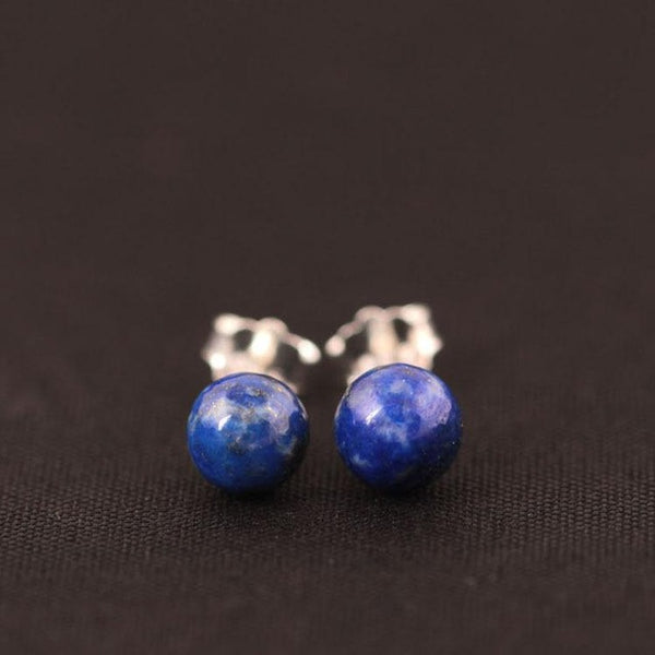 925 Sterling Silver Lapis Lazuli Beads Stud Earrings Simple Lady Gift Prevent Allergy Jewelry