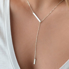 sterling silver delicate bar charm  lady gift sexy chain simple plain silver jewlery