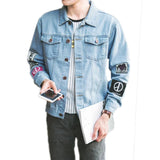 A.BLISS Autumn Denim Jackets Men Hip Hop 3D Print Long Sleeve Street Wear Jeans Jacket