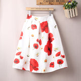 A line Spring Summer High Waist Skirt Floral Print Pleated Midi Skirt Women Vintage Ball Gown