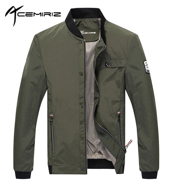 ACEMIRIZ Men Pockets Jacket Slim Zipper Solid Regular Casual Coats Olive Mens Jackets