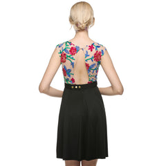 Women Vintage A-line Sleeveless Embroidery Casual Cocktail Party Dress Printing Dress