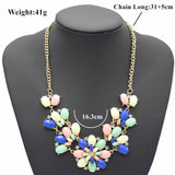 ADOLPH Jewelry Zinc Alloy Rhinestone Flower Pendant Necklace Woman Cute Christmas Gift
