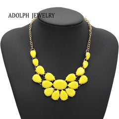 ADOLPH Jewelry Luxury Multicolour Crystal Gem Drop Necklace Pendant Style Banquet Necklace