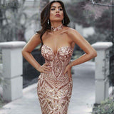 ADYCE Dress Celebrity Runway Dress Strapless Sequins Striped Mesh Women Bodycon Party Dress