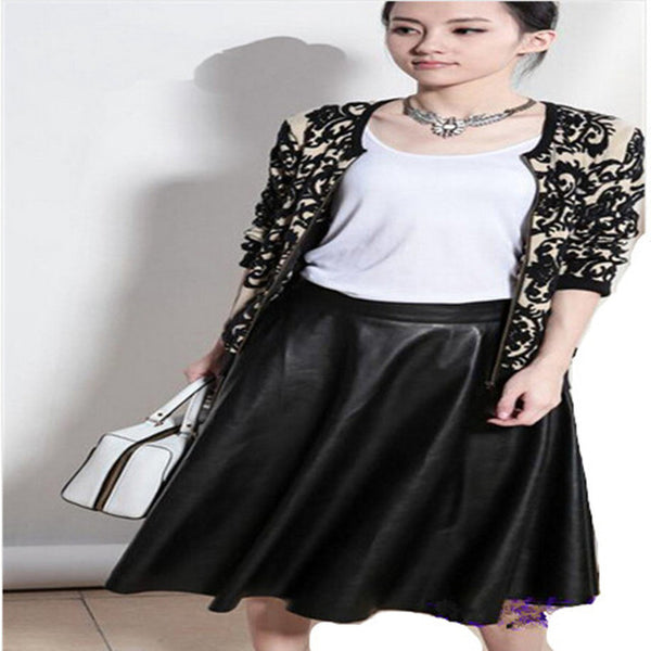 High Waist Women PU Leather Skirt Spring Vintage Large Swing Long Midi Skirts Black Red