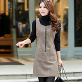 Autumn Winter Wool Women Dress Vest Dresses Slim Basic Office Dress Vestidos