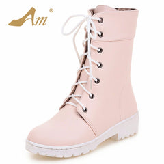 Winter Women Mid-Calf Boots Lace up Preppy Style Snow Boots Girl Martin Boots Shoes